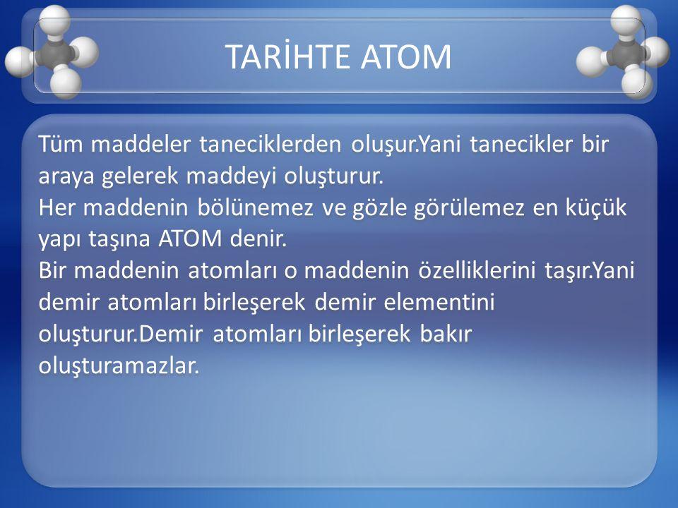 –>Tarihte maddelerin atomlardan oluştuğunu ve atomların bölünemez olduğu fikrini ilk olarak Yunanlı filozof Demokritos ortaya attı.Atom kelime anlamıyla bölünemez anlamındadır.Bölünebildiği kanıtlanmış olmasına rağmen atom olarak adlandırılması değiştirilmemiştir.