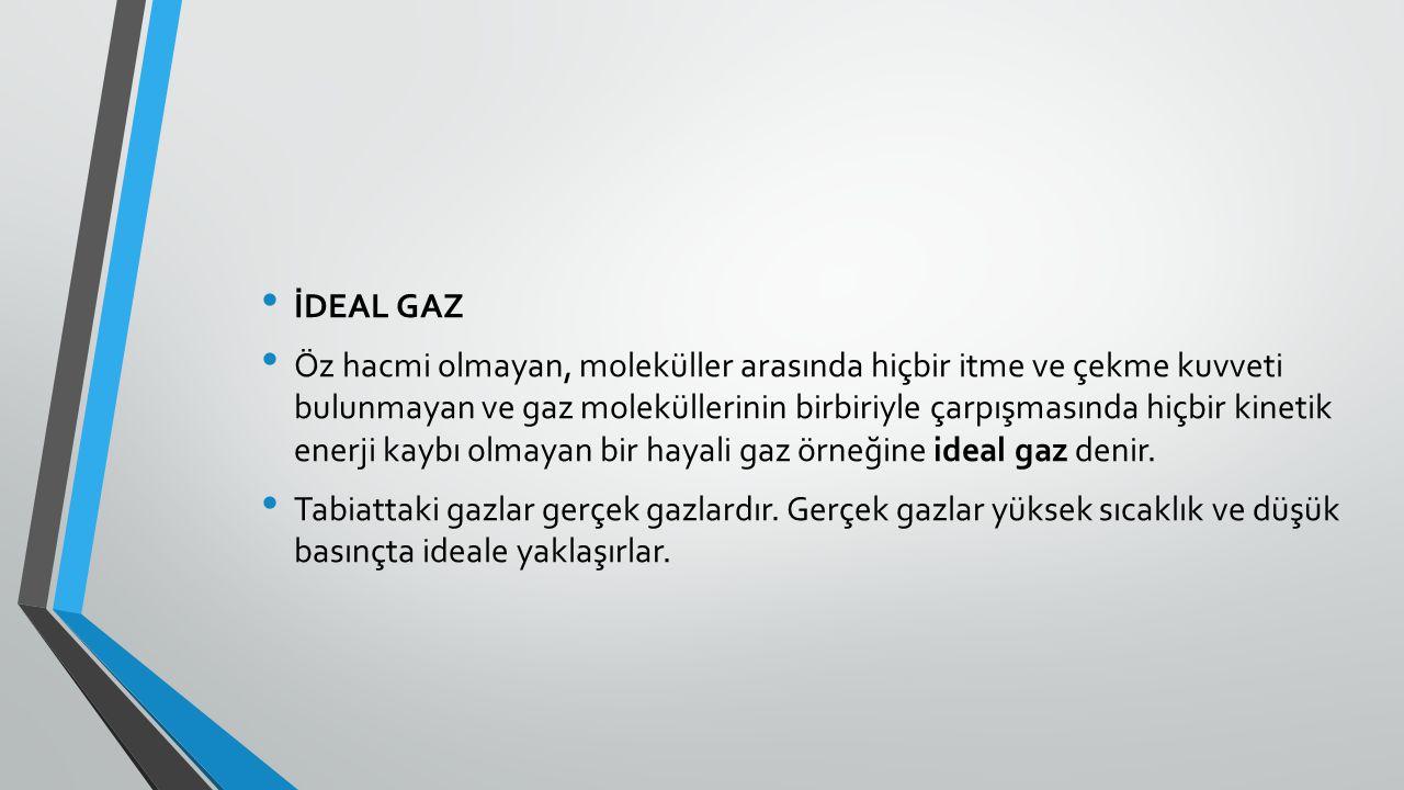 İDEAL GAZ Öz hacmi olmayan, moleküller arasında hiçbir itme ve çekme kuvveti bulunmayan ve gaz moleküllerinin birbiriyle çarpışmasında hiçbir kinetik enerji kaybı olmayan bir hayali gaz örneğine ideal gaz denir.