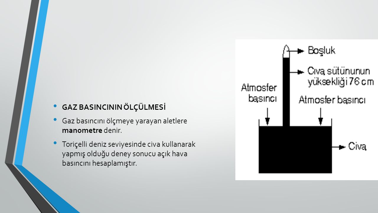 GAZ BASINCININ ÖLÇÜLMESİ Gaz basıncını ölçmeye yarayan aletlere manometre denir. Toriçelli deniz seviyesinde civa kullanarak yapmış olduğu deney sonuc