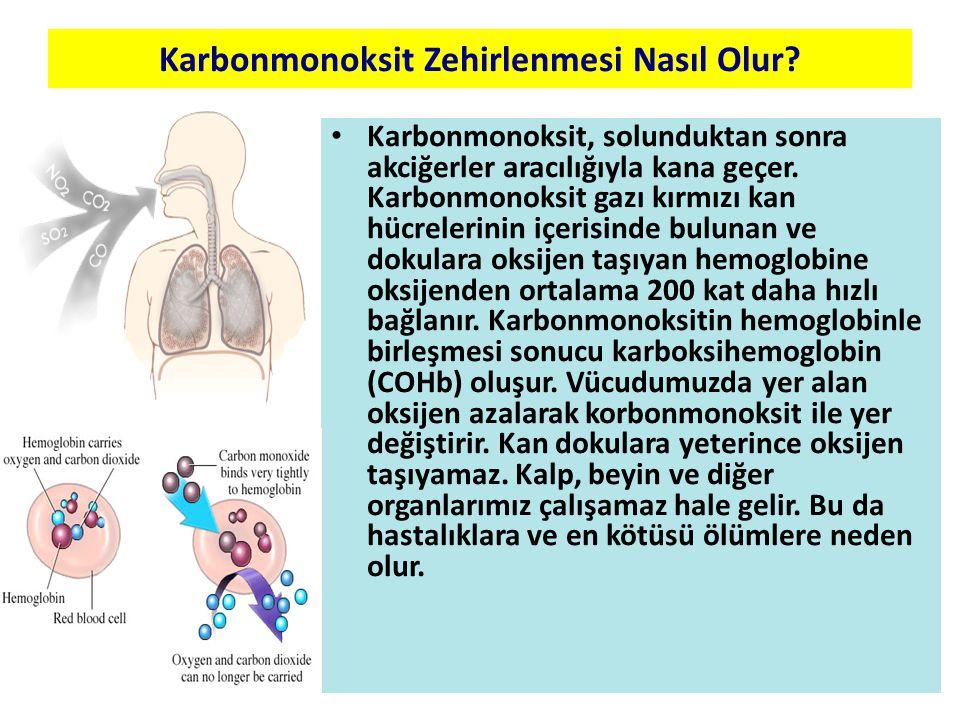 Karbonmonoksit Zehirlenmesi Nasıl Olur? Karbonmonoksit, solunduktan sonra akciğerler aracılığıyla kana geçer. Karbonmonoksit gazı kırmızı kan hücreler