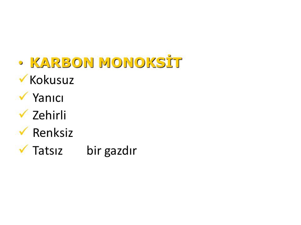 KARBON MONOKSİT KARBON MONOKSİT Kokusuz Yanıcı Zehirli Renksiz Tatsız bir gazdır