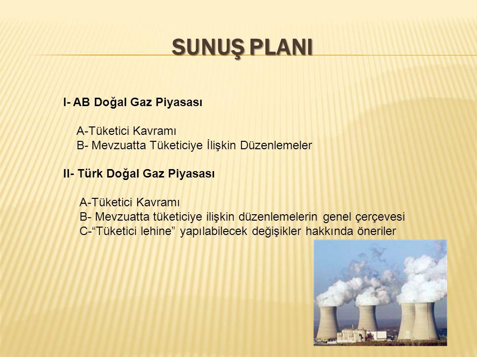 SUNUŞ PLANI I- AB Doğal Gaz Piyasası A-Tüketici Kavramı B- Mevzuatta Tüketiciye İlişkin Düzenlemeler II- Türk Doğal Gaz Piyasası A-Tüketici Kavramı B- Mevzuatta tüketiciye ilişkin düzenlemelerin genel çerçevesi C- Tüketici lehine yapılabilecek değişikler hakkında öneriler