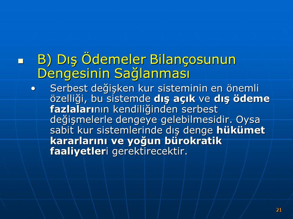 B) Dış Ödemeler Bilançosunun Dengesinin Sağlanması B) Dış Ödemeler Bilançosunun Dengesinin Sağlanması Serbest değişken kur sisteminin en önemli özelli
