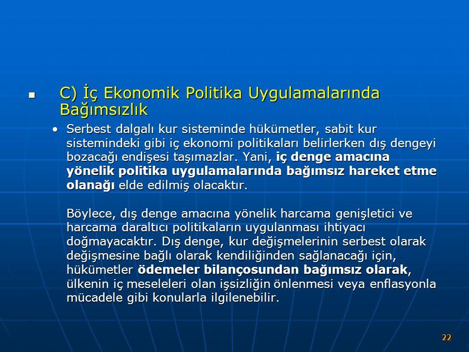 C) İç Ekonomik Politika Uygulamalarında Bağımsızlık C) İç Ekonomik Politika Uygulamalarında Bağımsızlık Serbest dalgalı kur sisteminde hükümetler, sab