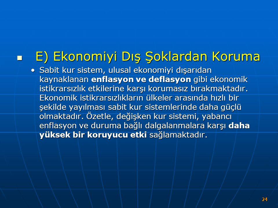 E) Ekonomiyi Dış Şoklardan Koruma E) Ekonomiyi Dış Şoklardan Koruma Sabit kur sistem, ulusal ekonomiyi dışarıdan kaynaklanan enflasyon ve deflasyon gi