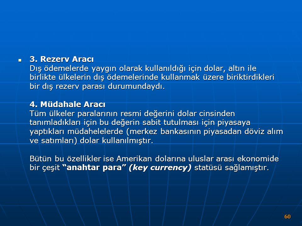 3. Rezerv Aracı Dış ödemelerde yaygın olarak kullanıldığı için dolar, altın ile birlikte ülkelerin dış ödemelerinde kullanmak üzere biriktirdikleri bi