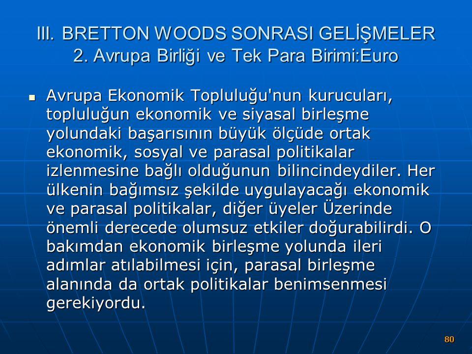 III. BRETTON WOODS SONRASI GELİŞMELER 2. Avrupa Birliği ve Tek Para Birimi:Euro Avrupa Ekonomik Topluluğu'nun kurucuları, topluluğun ekonomik ve siyas