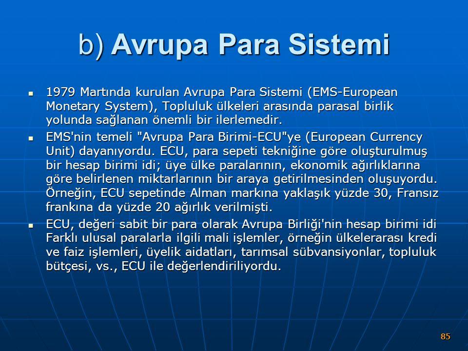 b) Avrupa Para Sistemi 1979 Martında kurulan Avrupa Para Sistemi (EMS-European Monetary System), Topluluk ülkeleri arasında parasal birlik yolunda sağ