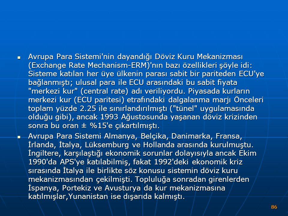 Avrupa Para Sistemi'nin dayandığı Döviz Kuru Mekanizması (Exchange Rate Mechanism-ERM)'nın bazı özellikleri şöyle idi: Sisteme katılan her üye ülkeni