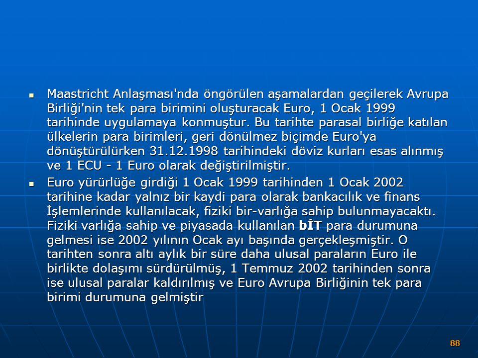 Maastricht Anlaşması'nda öngörülen aşamalardan geçilerek Avrupa Birliği'nin tek para birimini oluşturacak Euro, 1 Ocak 1999 tarihinde uygulamaya konmu