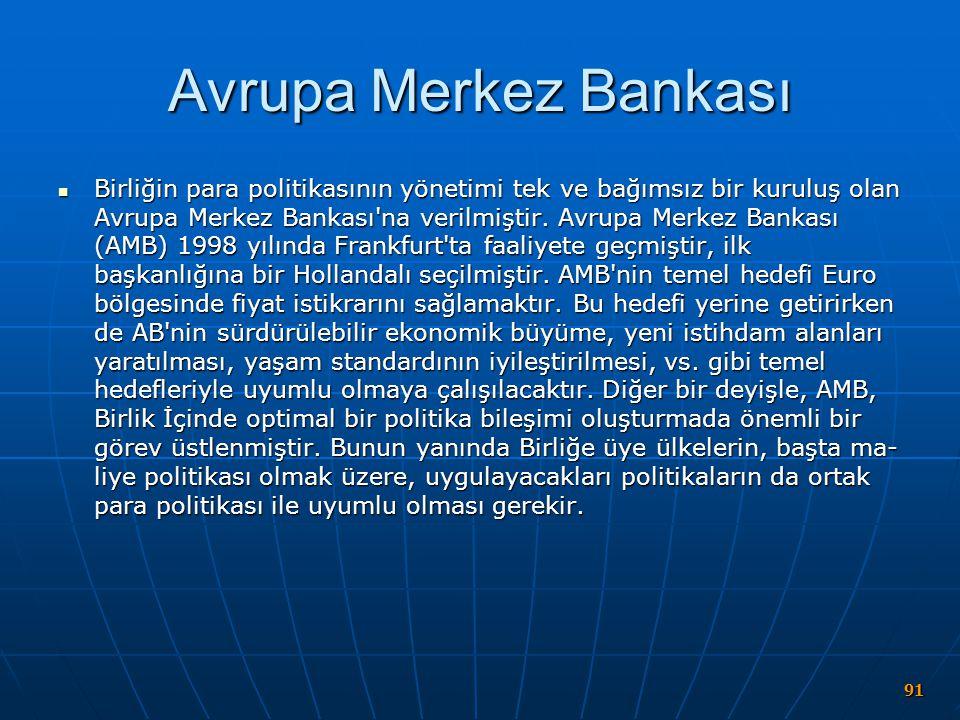 Avrupa Merkez Bankası Birliğin para politikasının yönetimi tek ve bağımsız bir kuruluş olan Avrupa Merkez Bankası'na verilmiştir. Avrupa Merkez Bankas