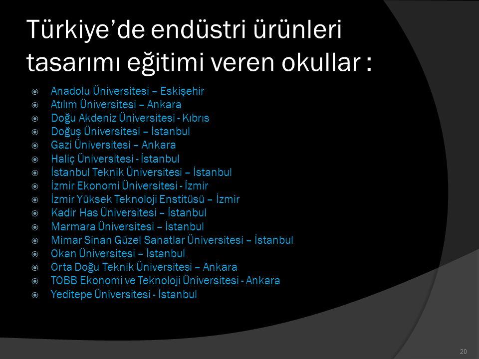 Türkiye'de endüstri ürünleri tasarımı eğitimi veren okullar :  Anadolu Üniversitesi – Eskişehir  Atılım Üniversitesi – Ankara  Doğu Akdeniz Ünivers