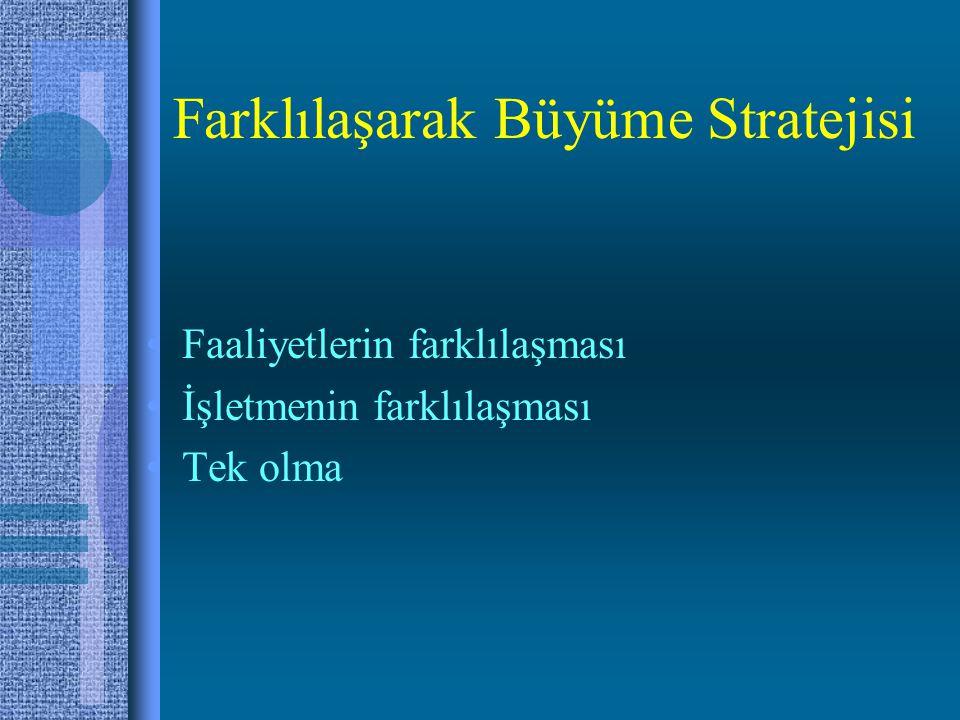 Farklılaşarak Büyüme Stratejisi Faaliyetlerin farklılaşması İşletmenin farklılaşması Tek olma