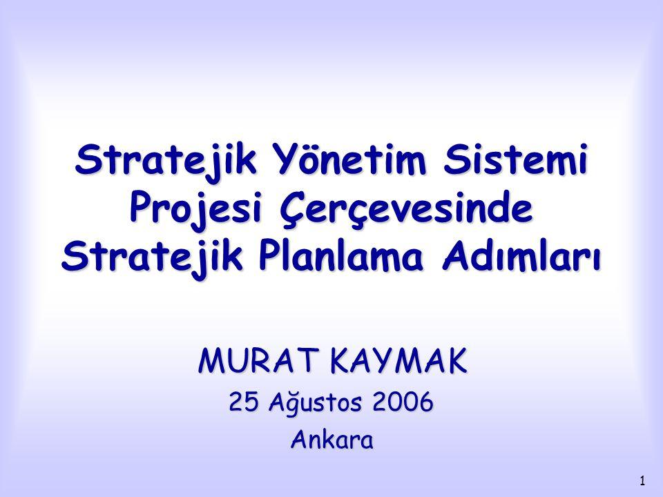 1 Stratejik Yönetim Sistemi Projesi Çerçevesinde Stratejik Planlama Adımları MURAT KAYMAK 25 Ağustos 2006 Ankara