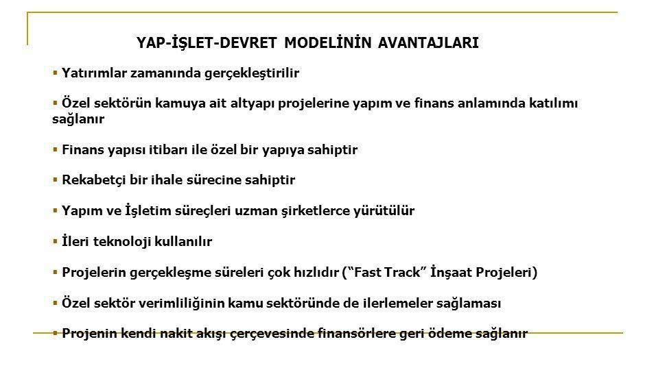 YAP-İŞLET-DEVRET MODELİNİN AVANTAJLARI  Yatırımlar zamanında gerçekleştirilir  Özel sektörün kamuya ait altyapı projelerine yapım ve finans anlamınd