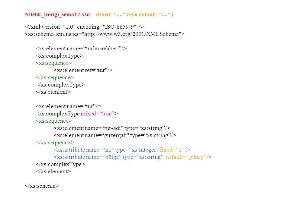 "Nitelik_icerigi_sema12.xsd (fixed=""...."" veya default=""...."" )"