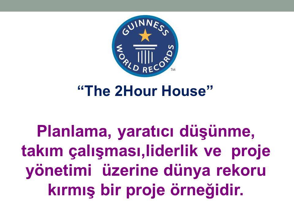 """Planlama, yaratıcı düşünme, takım çalışması,liderlik ve proje yönetimi üzerine dünya rekoru kırmış bir proje örneğidir. """"The 2Hour House"""""""