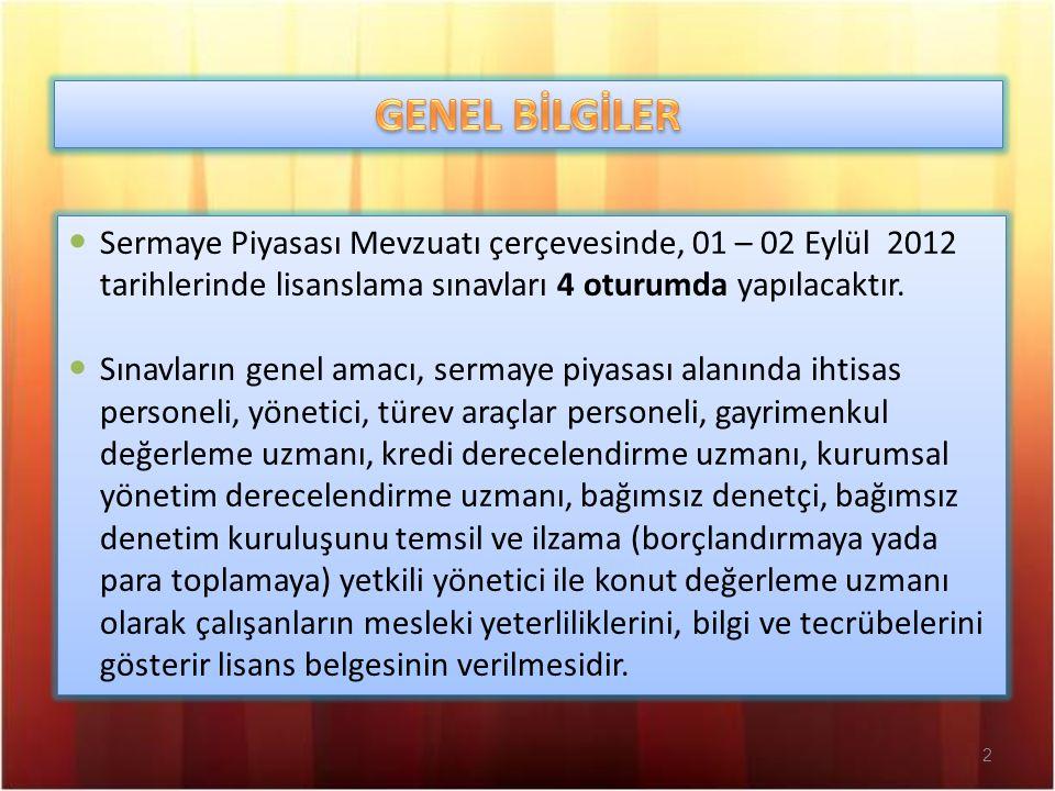 2 Sermaye Piyasası Mevzuatı çerçevesinde, 01 – 02 Eylül 2012 tarihlerinde lisanslama sınavları 4 oturumda yapılacaktır. Sınavların genel amacı, sermay