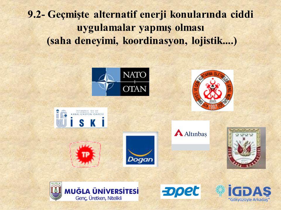 9- UZMAN FİRMA SEÇİMİ 9.1- Alternatif enerji konusunda eğitimli olması (alternatif enerji üretimi, verimi, ekonomisi, meteoroloji bilgisi..)