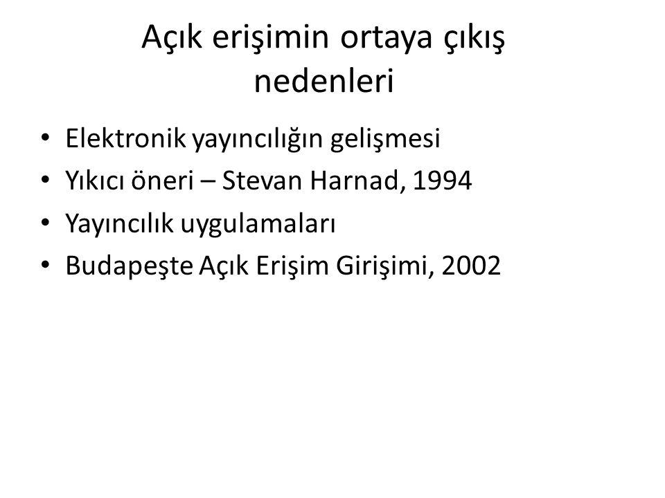 Açık erişimin ortaya çıkış nedenleri Elektronik yayıncılığın gelişmesi Yıkıcı öneri – Stevan Harnad, 1994 Yayıncılık uygulamaları Budapeşte Açık Erişi