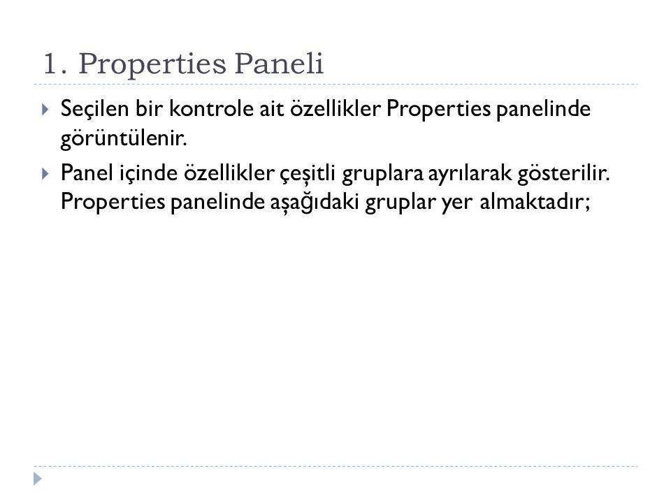 1. Properties Paneli  Seçilen bir kontrole ait özellikler Properties panelinde görüntülenir.  Panel içinde özellikler çeşitli gruplara ayrılarak gös