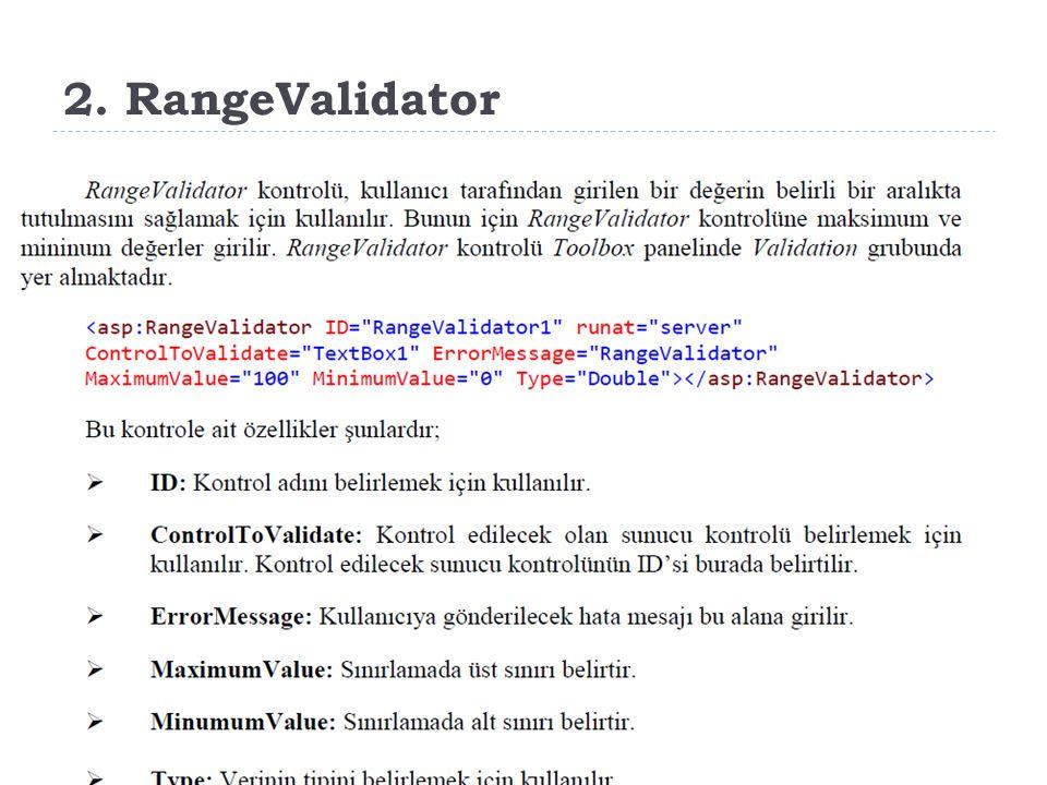 2. RangeValidator