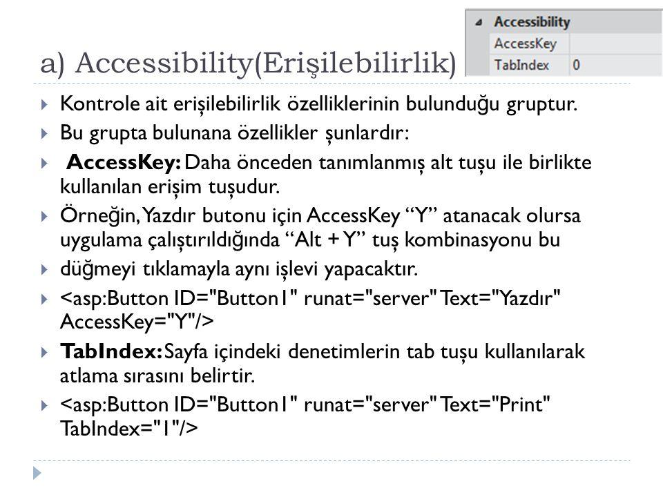 a) Accessibility(Erişilebilirlik)  Kontrole ait erişilebilirlik özelliklerinin bulundu ğ u gruptur.  Bu grupta bulunana özellikler şunlardır:  Acce