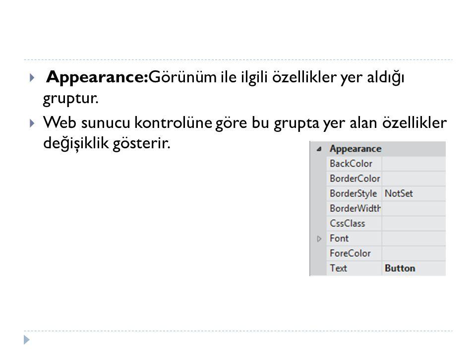  Appearance:Görünüm ile ilgili özellikler yer aldı ğ ı gruptur.  Web sunucu kontrolüne göre bu grupta yer alan özellikler de ğ işiklik gösterir.