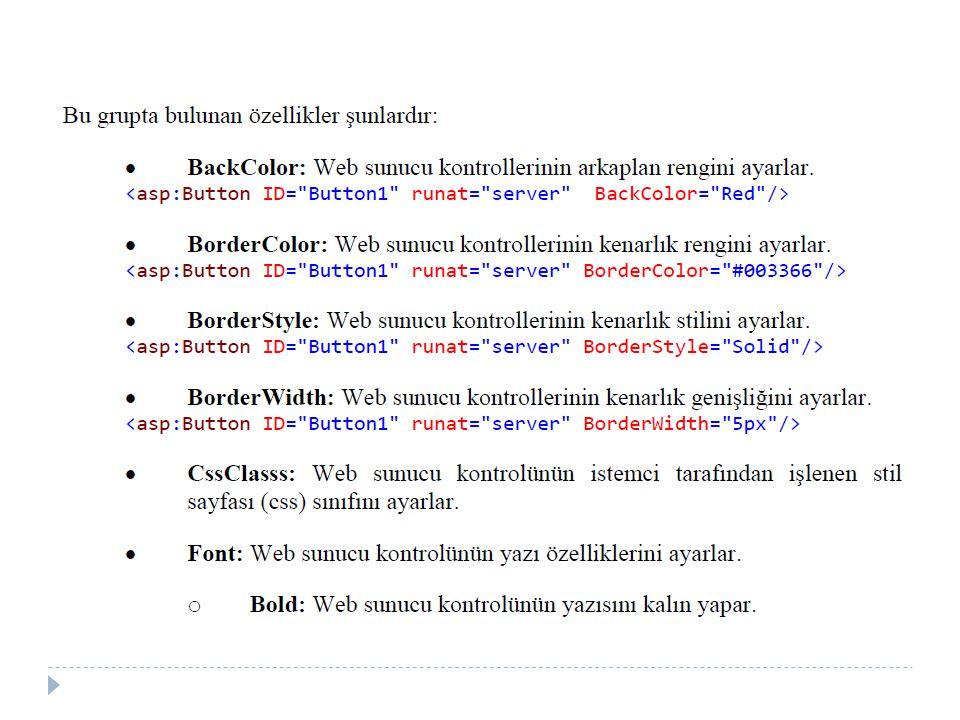 b) Try – Catch – Finally Kullanımı  Try blo ğ u içine hata oluşabilecek kodlar yazılır.