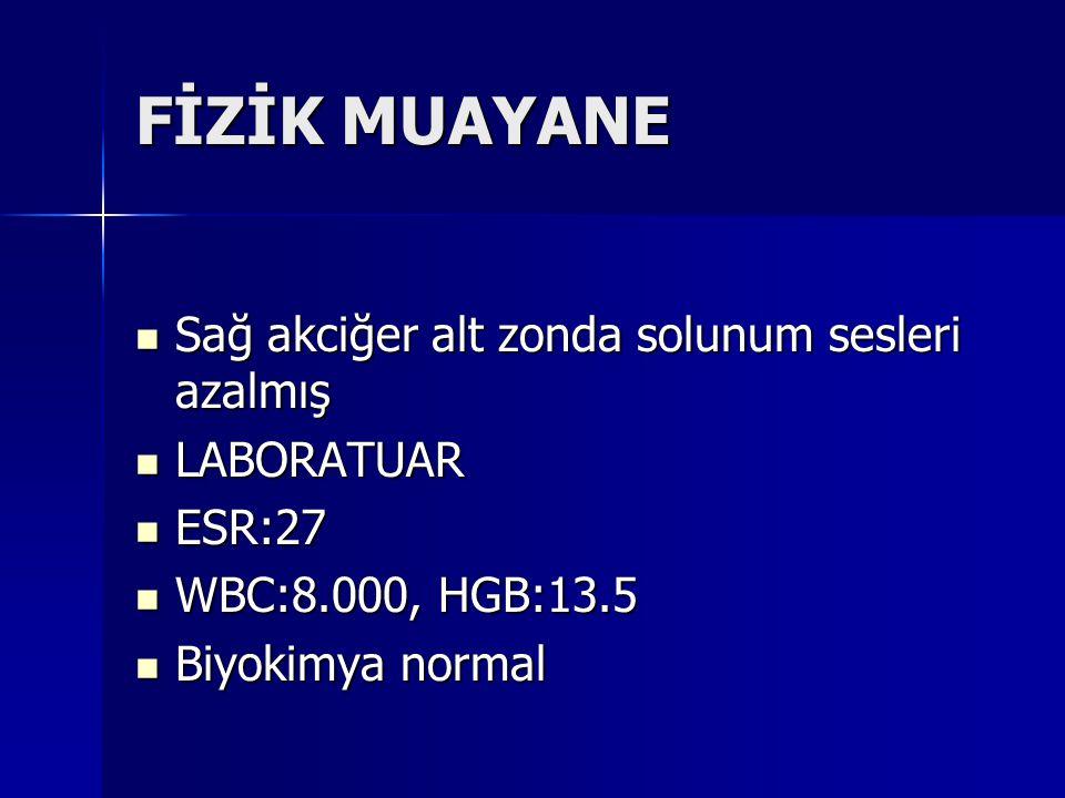 FİZİK MUAYANE Sağ akciğer alt zonda solunum sesleri azalmış Sağ akciğer alt zonda solunum sesleri azalmış LABORATUAR LABORATUAR ESR:27 ESR:27 WBC:8.00