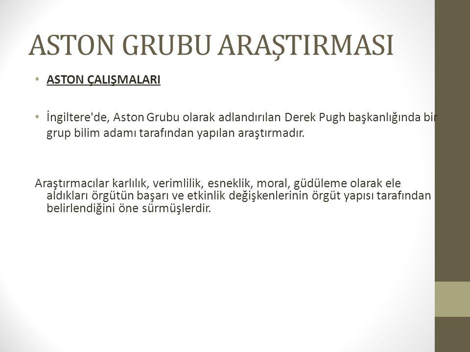 ASTON GRUBU ARAŞTIRMASI ASTON ÇALIŞMALARI İngiltere'de, Aston Grubu olarak adlandırılan Derek Pugh başkanlığında bir grup bilim adamı tarafından yapıl