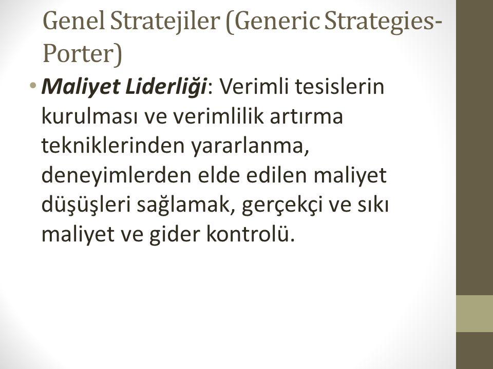 Genel Stratejiler (Generic Strategies- Porter) Maliyet Liderliği: Verimli tesislerin kurulması ve verimlilik artırma tekniklerinden yararlanma, deneyi