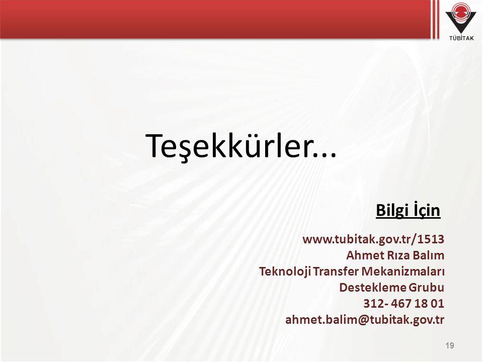 TÜBİTAK Teşekkürler... Bilgi İçin 19 www.tubitak.gov.tr/1513 Ahmet Rıza Balım Teknoloji Transfer Mekanizmaları Destekleme Grubu 312- 467 18 01 ahmet.b