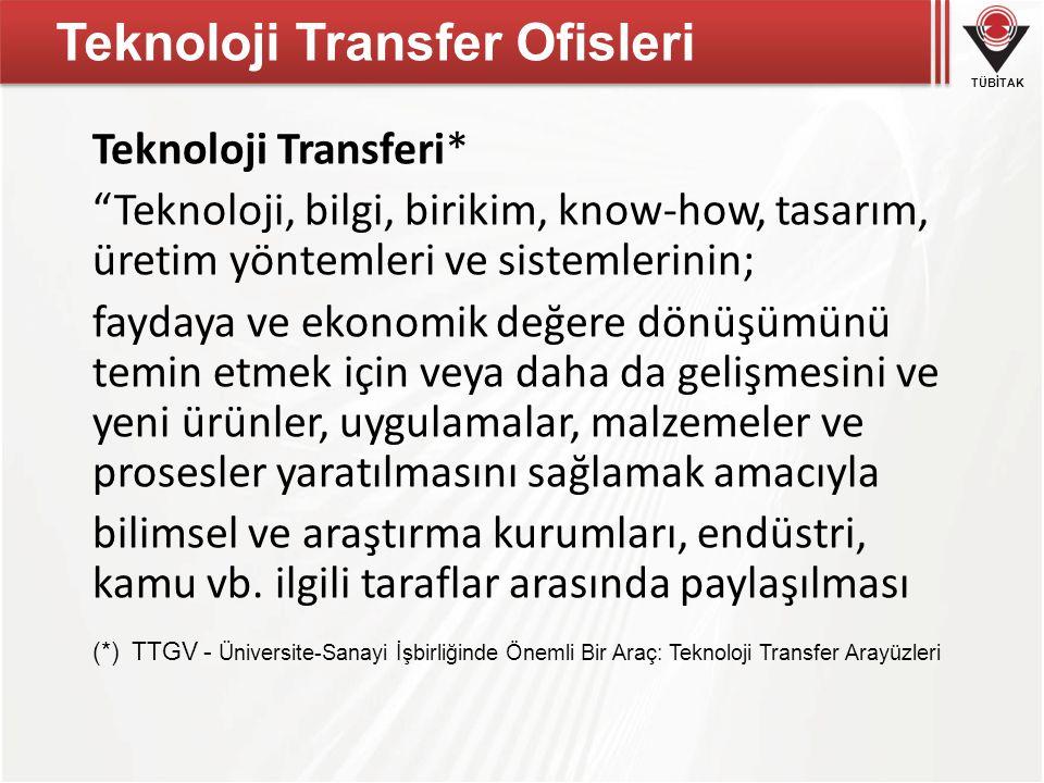 """Teknoloji Transfer Ofisleri Teknoloji Transferi* """"Teknoloji, bilgi, birikim, know-how, tasarım, üretim yöntemleri ve sistemlerinin; faydaya ve ekonomi"""