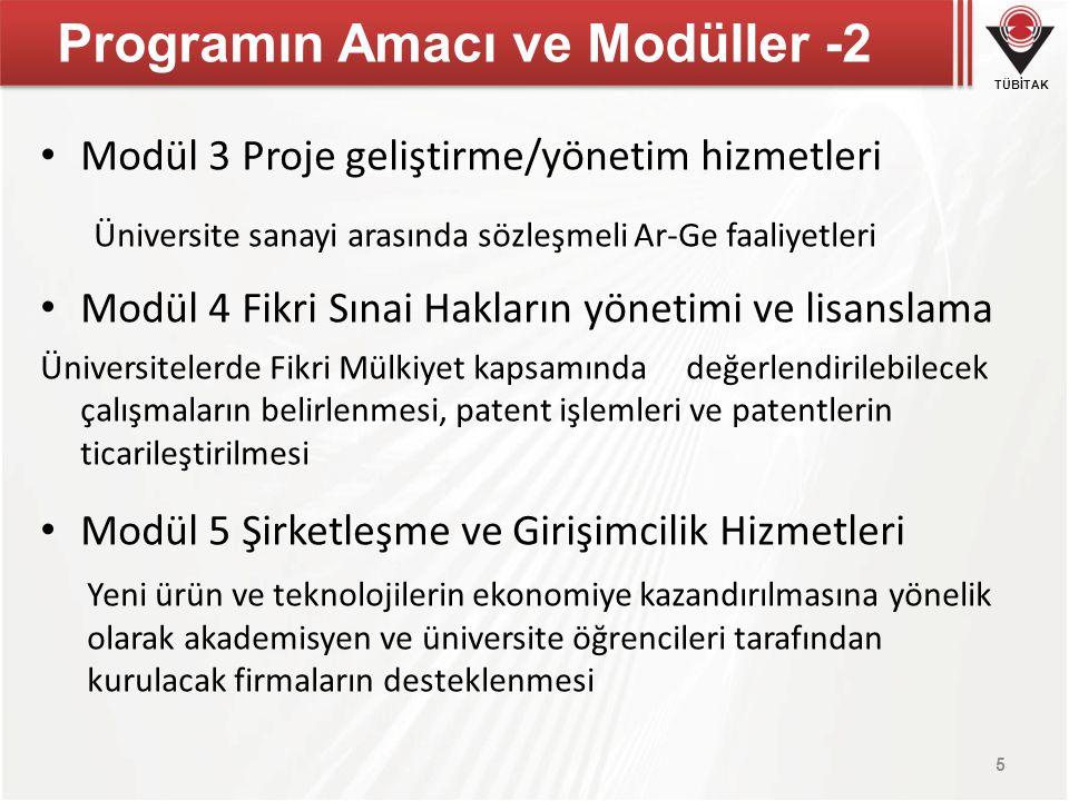 TÜBİTAK Programın Amacı ve Modüller -2 Modül 3 Proje geliştirme/yönetim hizmetleri Üniversite sanayi arasında sözleşmeli Ar-Ge faaliyetleri Modül 4 Fi