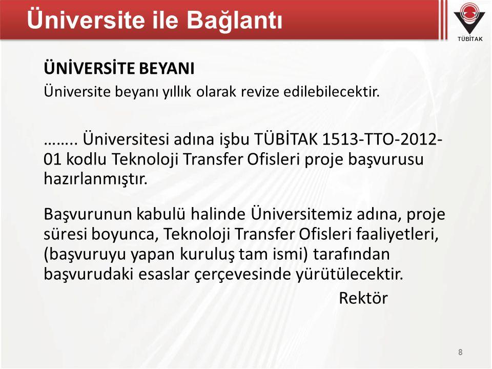 TÜBİTAK Üniversite ile Bağlantı ÜNİVERSİTE BEYANI Üniversite beyanı yıllık olarak revize edilebilecektir. …….. Üniversitesi adına işbu TÜBİTAK 1513-TT