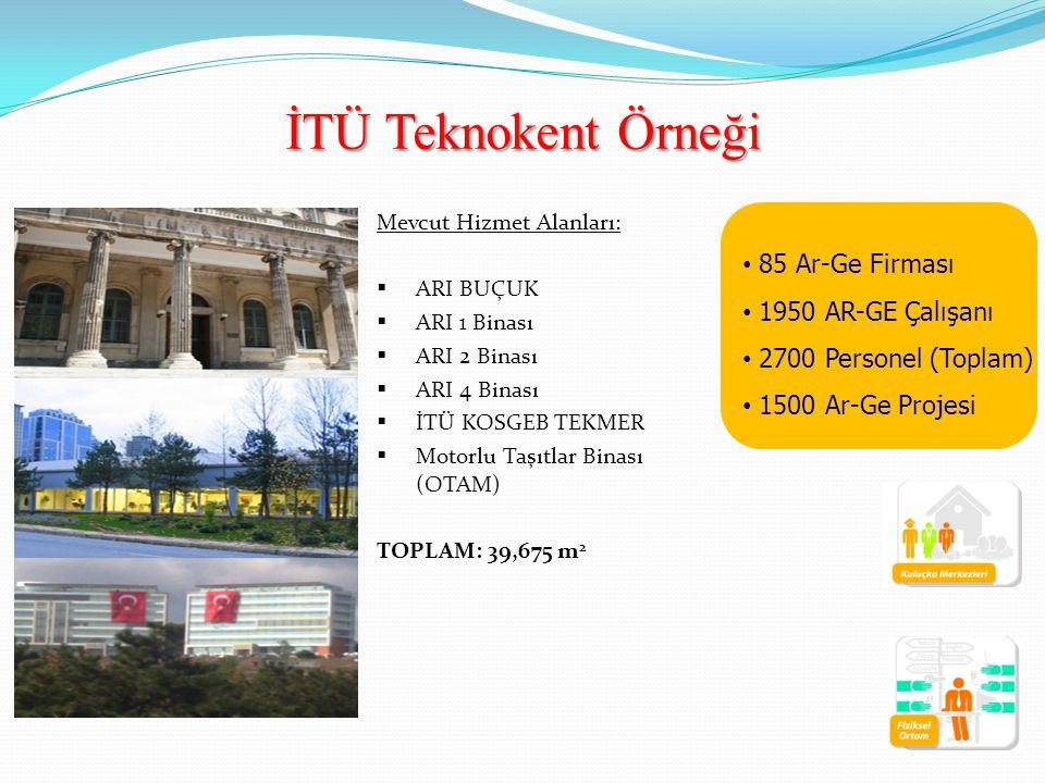 Mevcut Hizmet Alanları:  ARI BUÇUK  ARI 1 Binası  ARI 2 Binası  ARI 4 Binası  İTÜ KOSGEB TEKMER  Motorlu Taşıtlar Binası (OTAM) TOPLAM: 39,675 m