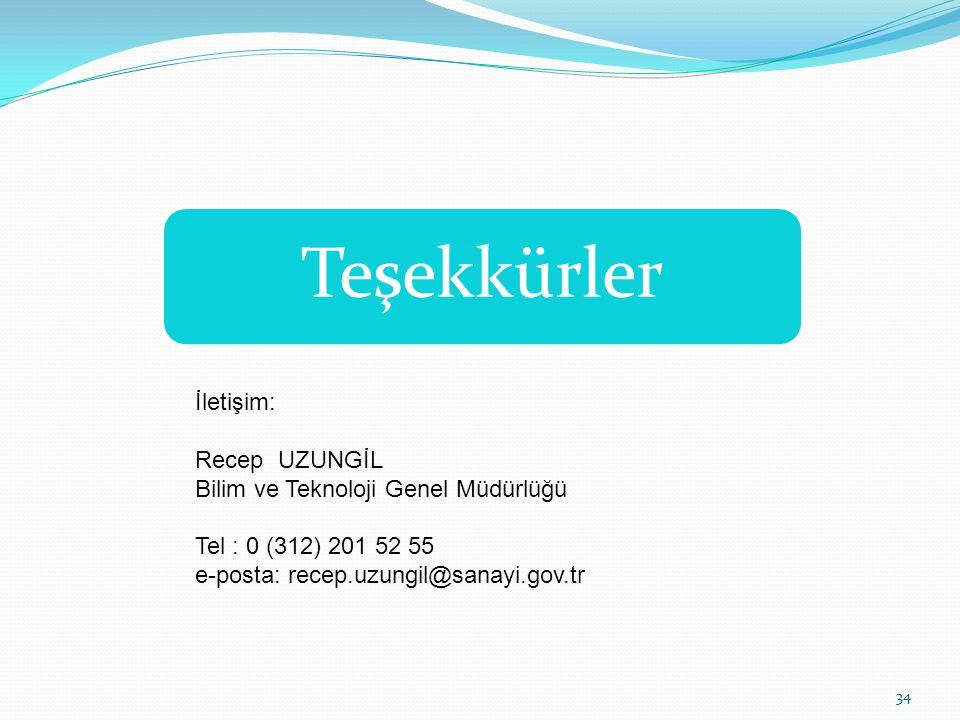 34 İletişim: Recep UZUNGİL Bilim ve Teknoloji Genel Müdürlüğü Tel : 0 (312) 201 52 55 e-posta: recep.uzungil@sanayi.gov.tr