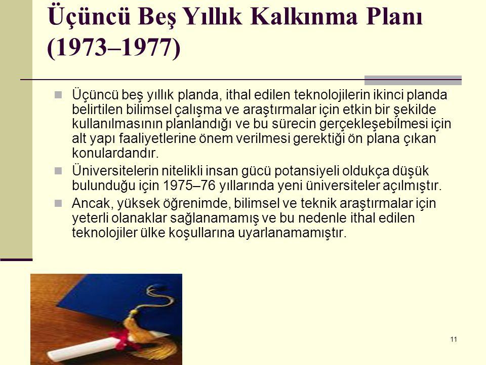 11 Üçüncü Beş Yıllık Kalkınma Planı (1973–1977) Üçüncü beş yıllık planda, ithal edilen teknolojilerin ikinci planda belirtilen bilimsel çalışma ve ara
