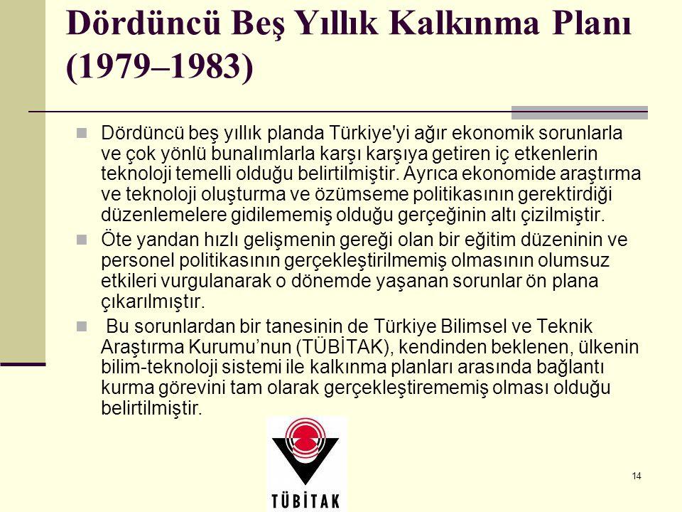 14 Dördüncü Beş Yıllık Kalkınma Planı (1979–1983) Dördüncü beş yıllık planda Türkiye'yi ağır ekonomik sorunlarla ve çok yönlü bunalımlarla karşı karşı