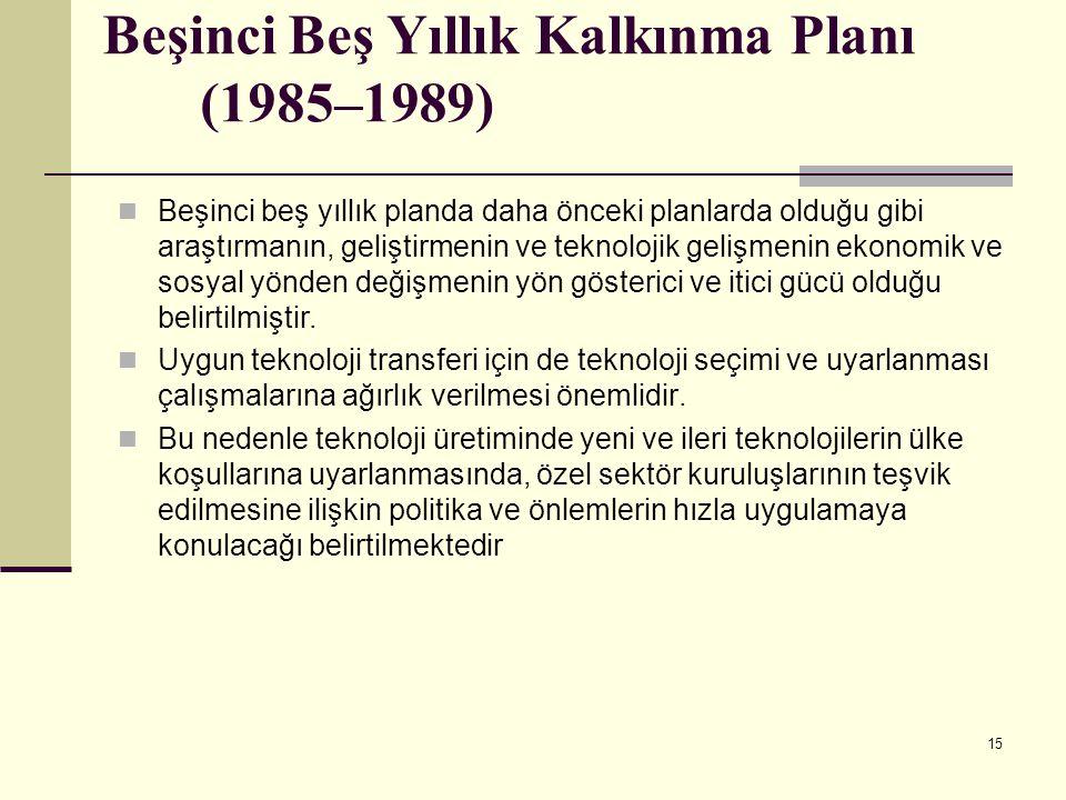 15 Beşinci Beş Yıllık Kalkınma Planı (1985–1989) Beşinci beş yıllık planda daha önceki planlarda olduğu gibi araştırmanın, geliştirmenin ve teknolojik