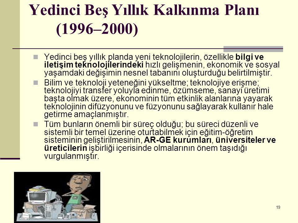19 Yedinci Beş Yıllık Kalkınma Planı (1996–2000) Yedinci beş yıllık planda yeni teknolojilerin, özellikle bilgi ve iletişim teknolojilerindeki hızlı g