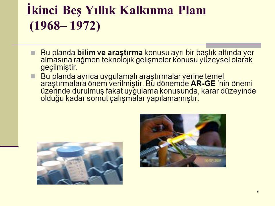 10 Üçüncü Beş Yıllık Kalkınma Planı (1973–1977) Üçüncü beş yıllık plan dönemine girerken Türkiye'nin sanayileşme alanında ciddi bir tercih yapma noktasına geldiği vurgulanmaktadır.