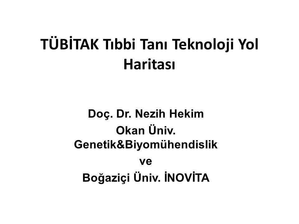 TÜBİTAK Tıbbi Tanı Teknoloji Yol Haritası Doç. Dr. Nezih Hekim Okan Üniv. Genetik&Biyomühendislik ve Boğaziçi Üniv. İNOVİTA