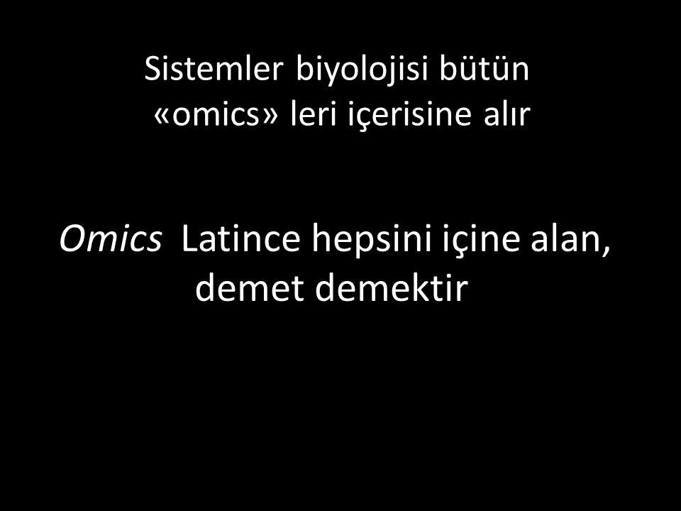 Omics Latince hepsini içine alan, demet demektir. Sistemler biyolojisi bütün «omics» leri içerisine alır