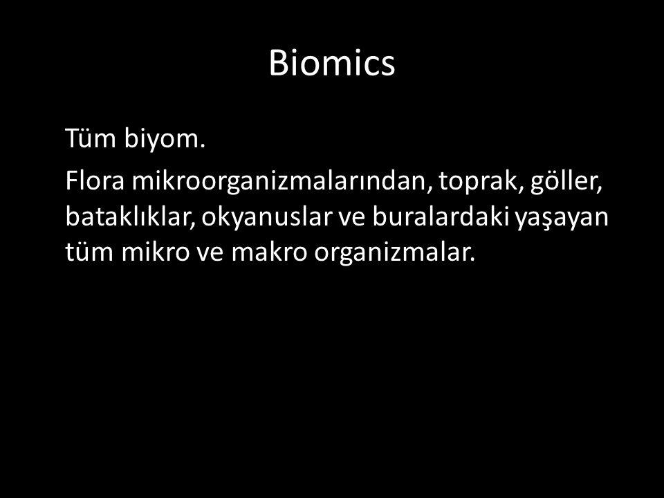Biomics Tüm biyom. Flora mikroorganizmalarından, toprak, göller, bataklıklar, okyanuslar ve buralardaki yaşayan tüm mikro ve makro organizmalar.