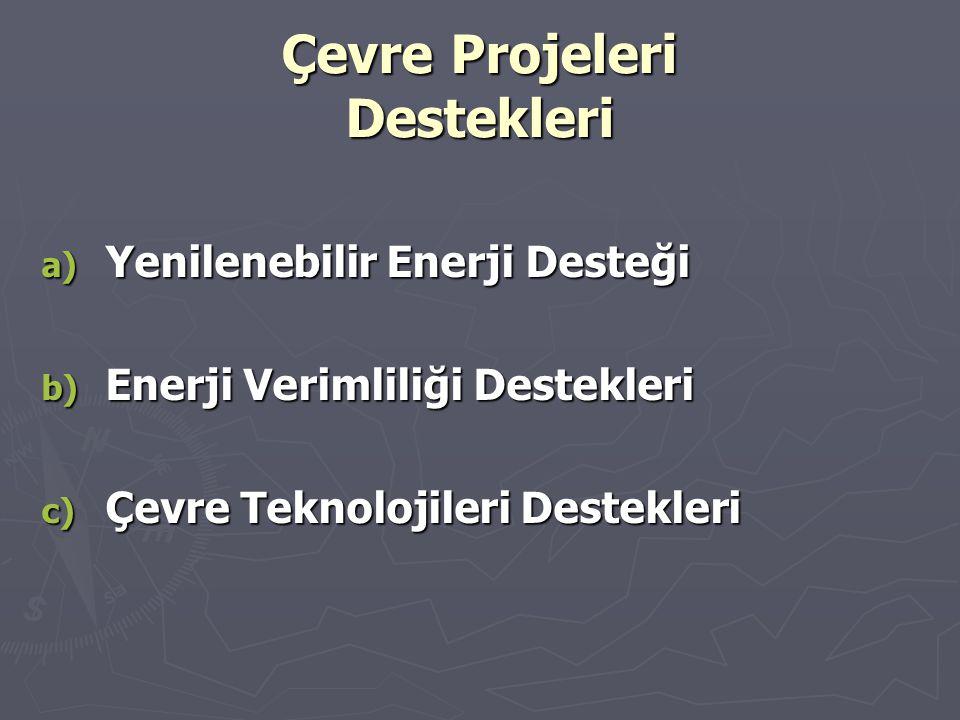 Çevre Projeleri Destekleri a) Yenilenebilir Enerji Desteği b) Enerji Verimliliği Destekleri c) Çevre Teknolojileri Destekleri