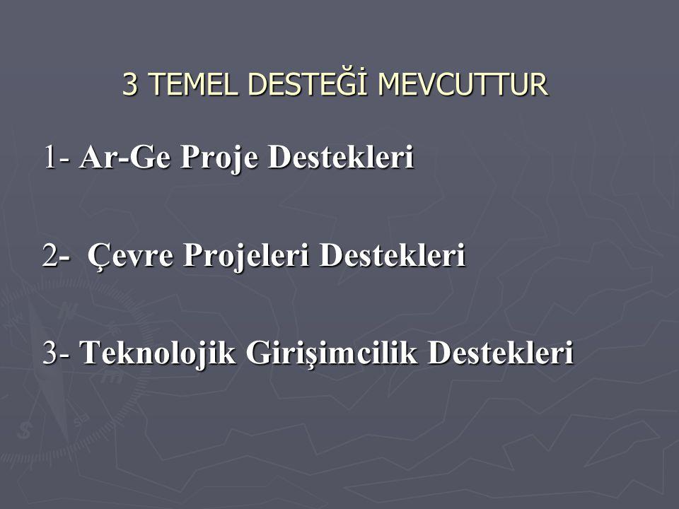 3 TEMEL DESTEĞİ MEVCUTTUR 1- Ar-Ge Proje Destekleri 2- Çevre Projeleri Destekleri 3- Teknolojik Girişimcilik Destekleri