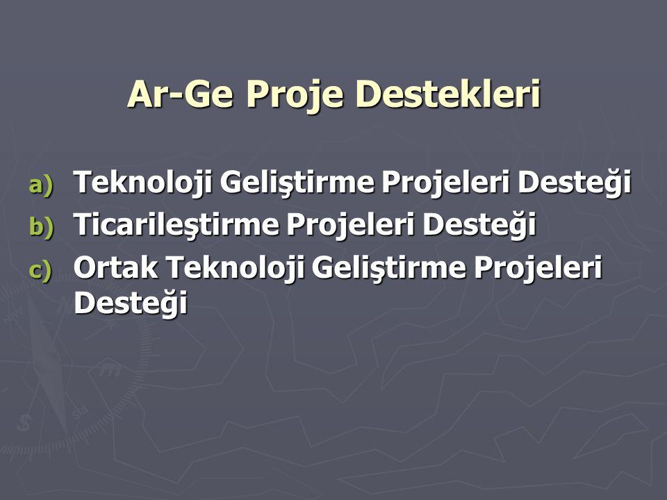 Ar-Ge Proje Destekleri a) Teknoloji Geliştirme Projeleri Desteği b) Ticarileştirme Projeleri Desteği c) Ortak Teknoloji Geliştirme Projeleri Desteği