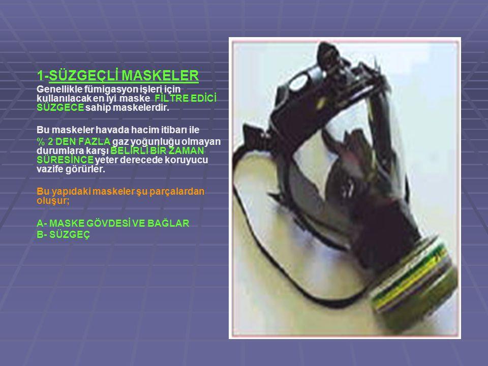 1-SÜZGEÇLİ MASKELER Genellikle fümigasyon işleri için kullanılacak en iyi maske FİLTRE EDİCİ SÜZGECE sahip maskelerdir.